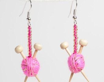 Sparkly Pink Ear Knits - Yarn ball earrings