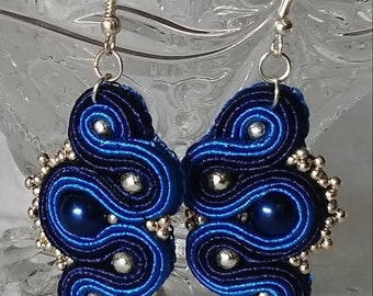 Blue Soutache unique handmade Earrings