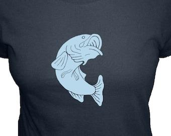 Fishing Shirt - Womens Fish Shirt - Organic T Shirt - 4 Colors - Organic Bamboo and Cotton T Shirt - Gift Friendly