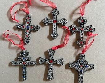 vintage pewter cross ornaments set of 6
