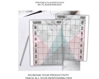 Geometric Monthly Pages, monthly planner pages, gray marble monthly planner page, monthly A4 A5 half letter printable planner pages