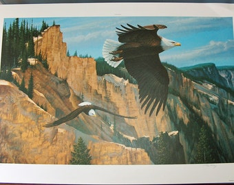 """7968: RC Kray """"Canyon Sentries"""" Eagles Print Signed & No'd Pencil Limited Edition Lithograph 1988 Two Soaring Eagles at Vintageway Furniture"""