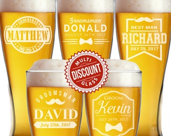 Personalized Pilsner Glasses, Personalized Glasses, Groomsmen Gift, Engraved Beer Glasses, Custom Beer Glass, Pilsner Glass, Etched Beer Mug