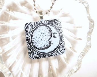 Blue Moon Pendant, Light Blue Jewelry, Moon and Stars, Everyday Jewelry, Optional Ball Chain Necklace, handmade polymer clay jewelry