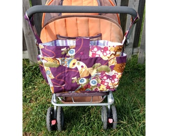 stylish pram caddy /wheelchair bag organrier/shoulder bag/stroller organiser / pram bag - Maroon flowers