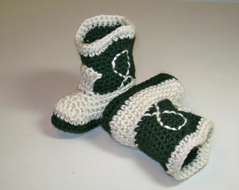 Baby Booties Black and Natural Cowboy Boots Crochet Western Baby Shoes