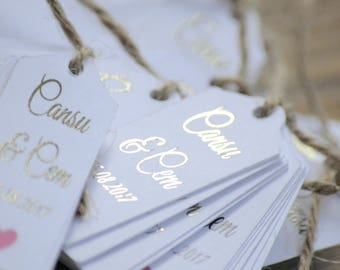 10x Gold Foil Personalised Foiled Gift Tags/Favour Tags