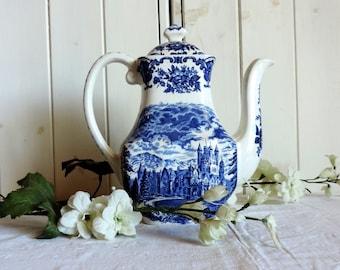 Vintage English, Enoch Wedgwood, Royal Homes of Britain blue, Windsor castle, porcelaine coffee pot
