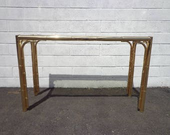Faux Bamboo Console Table Brass Gold Bohemian Boho Chic Sofa Accent Stand  Chippendale Chinese Palm Beach