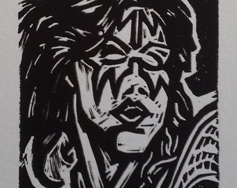 Space Ace (Ace Frehley) Linocut Print