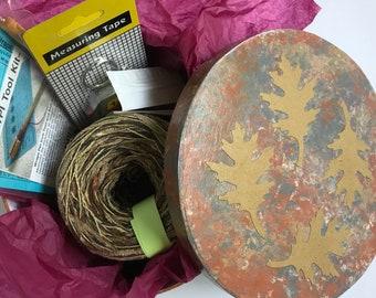 Organizer, knitting Adventures in Yarn gift box for knitter crocheter, wpi tool, tapestry needles, tape measure, autumn leaf box