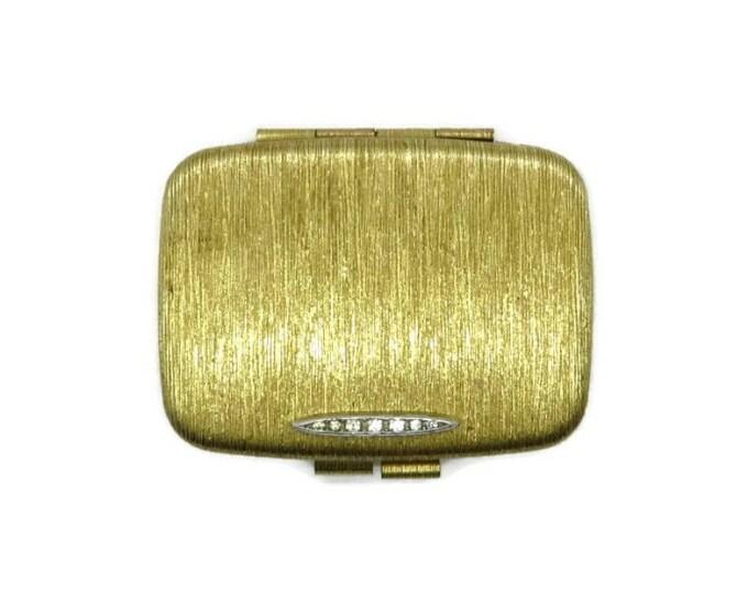 Vintage Compact - Gold Tone Rhinestone Compact, Rectangular Makeup Mirrored Powder Compact