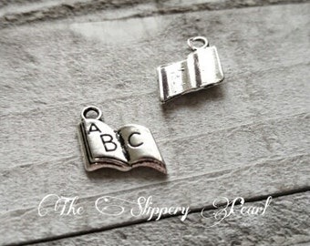 ABC Charms Book Charms School Charms Teacher Charms PreSchool Kindergarden Charms Antiqued Silver 10 pieces