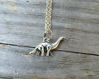 Dinosaur Necklace, Charm Necklace,  Dino Necklace, brontasaurus Necklace
