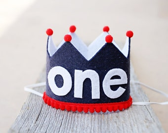Boys 1st Birthday Small Navy and Red Crown - Red, White and Blue One Felt Crown - Cake Smash