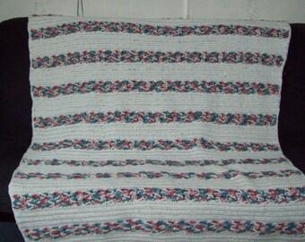 Chevron Weave  Herringbone Afghan  Crochet Afghan Large Bedspread Crochet Afghan