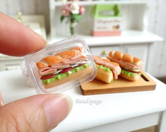 Miniature Sandwich Bread for 1/12 scale Dollhouse Roombox Sylvanian Families, Petite Picnic Food Meal Snack, DIY Craft Food Jewelry
