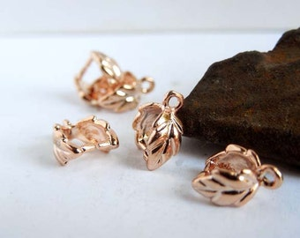 6 Rose Gold Plated Leaf Pinch Bails - 16-RG-5