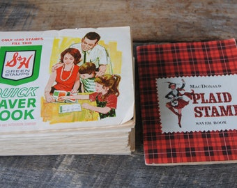 Vintage S&H Green Stamps Books Plus MacDonald Plaid Stamp Book