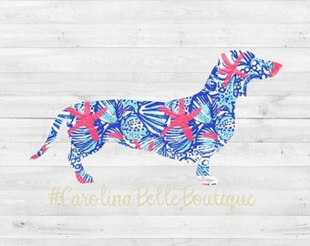Lilly Pulitzer Dachshund Decal