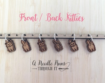 Kitties front and back Stitch markers set, sock knitter, knitter gift, snag free stitch markers