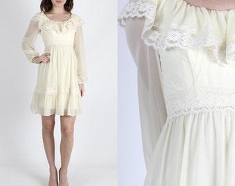 Boho Dress Hippie Dress 70s Dress Mini Dress Wedding Dress Festival Dress Vintage Dress Sheer Cream Dress Boho Ruffle Party Mini S