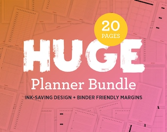 5.5 x 8.5 Planner Printables, Half-Letter Organizer Inserts, Half-Size Pages: Daily, Weekly, Monthly, Meal, To Do List, Chores, Budget, Grid