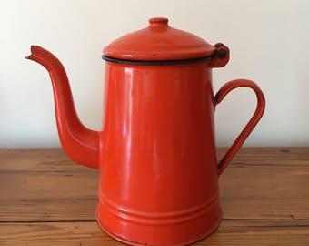 Numbered orange retro coffee pot