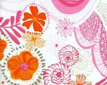 Pink and Orange Floral Cotton Fabric, Daisy Pansy Flowers, Daydream Hills and Valleys in Pink, Kate Spain, Moda Fabrics, 1 Yard or More
