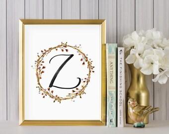 Instant Download - Wreath Initial Print - Monogram letter Z print - Letter Print - Letter Z printable - Floral Monogram - Initial Print