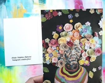 Postcard, portrait, afro, flowers