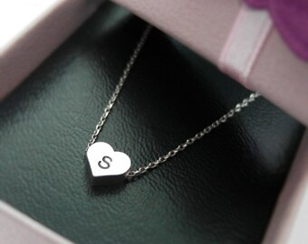 Initial Heart Necklace in white gold, personalized necklace, Hand Stamped Initial