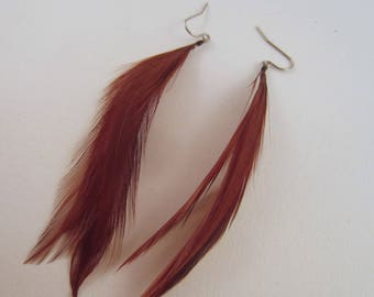 Brown Feather Earrings Short
