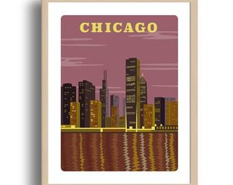 Chicago Art Print - Home Decor - Chicago city art - Wall Art - Museum Art Print - Chicago - Giclée Art- City art print - Prints Wholesale