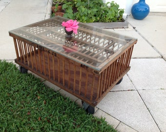Vintage CHICKEN CRATE COFFEE Table / Handmade Rustic Farmhouse Coffee Table on Wheels / Upcycled Coop Farmhouse Table at Retro Daisy Girl