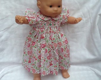 Liberty of anjo pink dress has smocked doll 36 cm