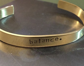 Balance Hand-Stamped Cuff Bracelet