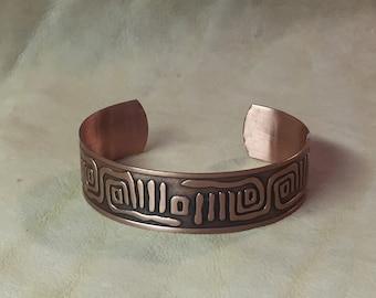 Southwest Petroglyph Copper Cuff Bracelet