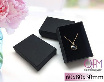 50pcs Black Boxes for jewelry 60x80x30mm - Gift Box - Paper Jewelry Boxes, Jewelry Packaging , Jewelry Boxes, Paper Boxes