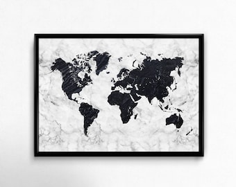Black world map etsy world map printable art black and white gumiabroncs Gallery