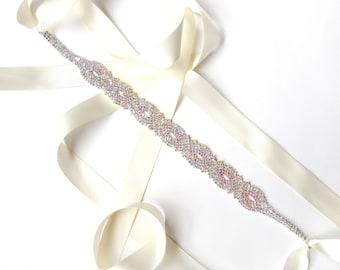 Dazzling Wedding Dress Sash or Headband with Aurora Borealis AB Crystals - Satin Ribbon - Silver and AB Crystal - Rhinestone Bridal Belt