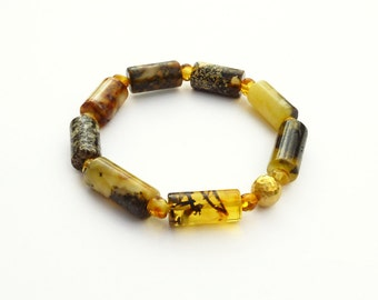 Old Baltic Amber  Bracelet, 18K Gold, Yellow Amber Black Amber - Unique Fine Jewelry