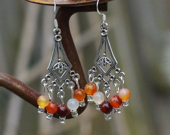 Carnelian Chandelier Earrings ~ Orange Red Stones ~ Bohemian Orange ~ Statement jewellery ~ Natural Stones ~ Mother's Day Gift ~ Boho Style