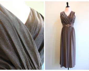 Vintage 1960's Metallic Rhinestone Jumpsuit | Size Medium