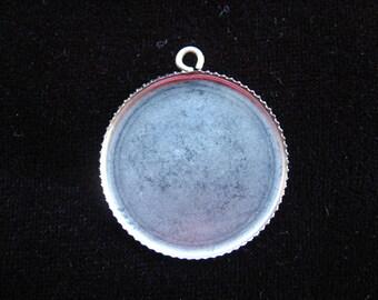 Silver cameo or cabochon - 25 mm diameter