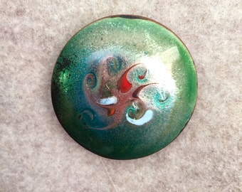 Vintage Brooch, Green Enameled Copper Brooch, 60' Green Pin, Modernist Atomic, Mid Century, 50's Jewelry