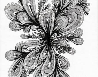 A4 Black and White Paisley Inspired Print