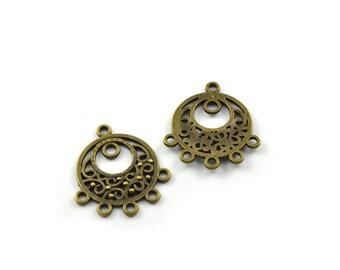 2 connectors round antique bronze color