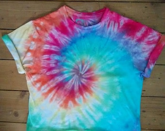 Rainbow Tie Dye Spiral Crop Top