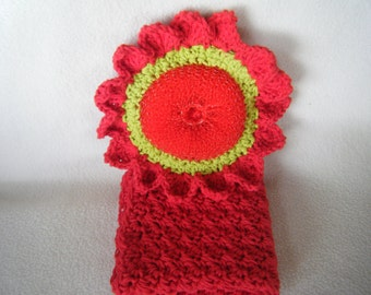 Crocheted Red & Lime Green Scrubber with Red Wash Cloth
